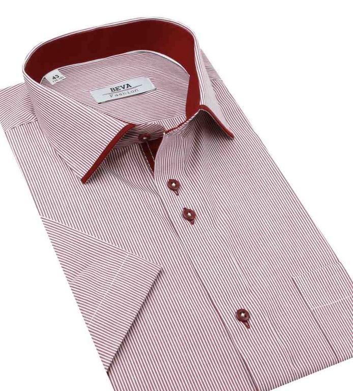03ee1768d389 Pánska bordová košeľa BEVA KLASIk s krátkym rukávom - All4Men.sk