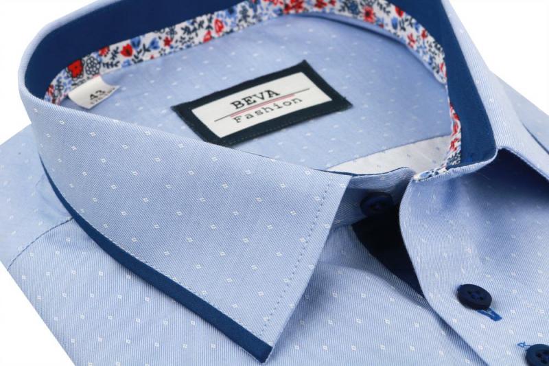 9c3c14c18009 Exkluzívna modrá pánska košeľa BEVA KLASIK krátky rukáv - All4Men.sk