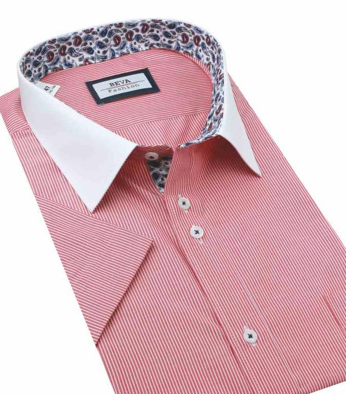 d0ca755e6f9e Červená prúžkovaná košeľa krátky rukáv BEVA KLASIK nadmerná veľkosť -  All4Men.sk