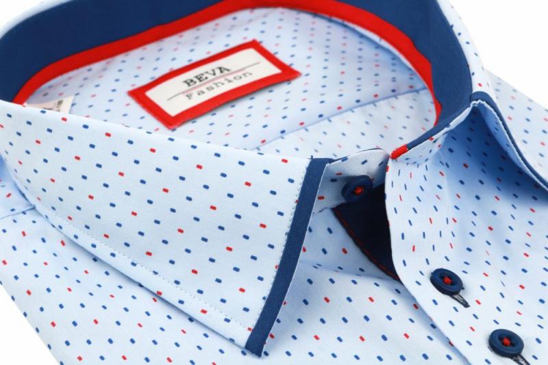 98f3f3b04fae Pánska modrá košeľa krátky rukáv BEVA KLASIK nadmerná veľkosť - All4Men.sk
