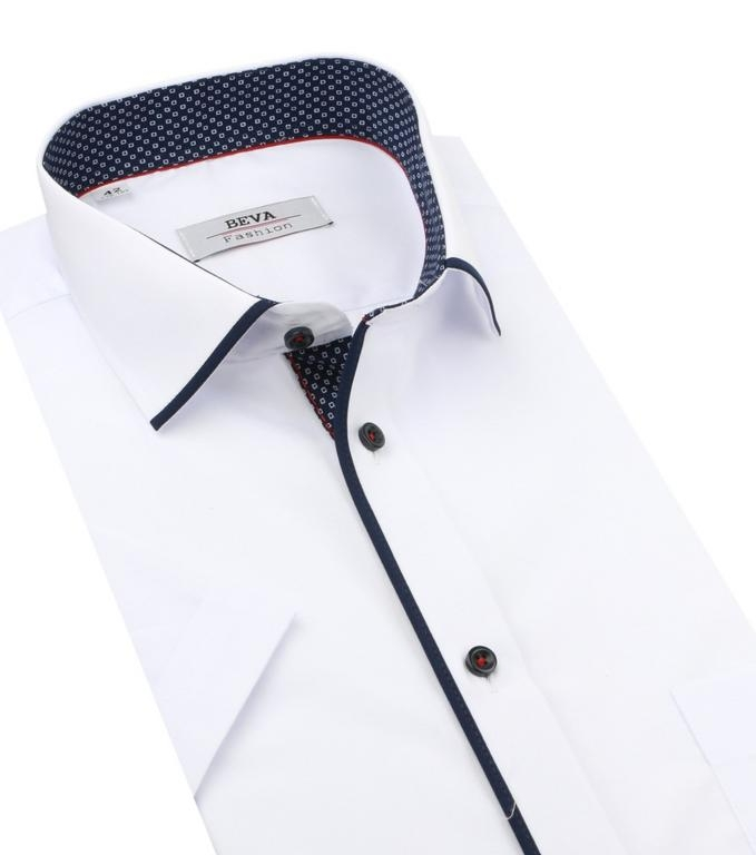 432e77b10050 Elegantná biela košeľa s modrým lemovaním BEVA SLIM kr.rukáv - All4Men.sk