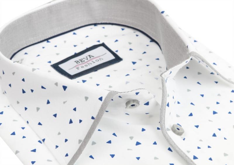 88b87e173ce0 Pánska biela SLIM košeľa so šedým vzorom BEVA dlhý rukáv - All4Men.sk