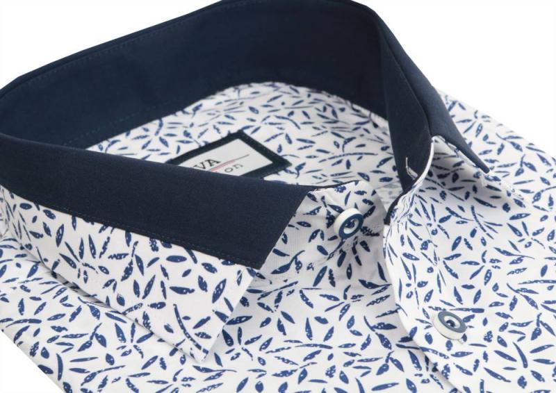 db551d45579c Exkluzívna pánska košeľa s modrým vzorom BEVA SLIM dlhý rukáv - All4Men.sk