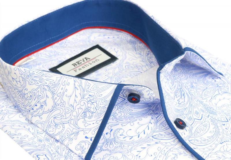 abd1c77d0bfd Ležérna pánska košeľa s modrým vzorom BEVA KLASIK - All4Men.sk