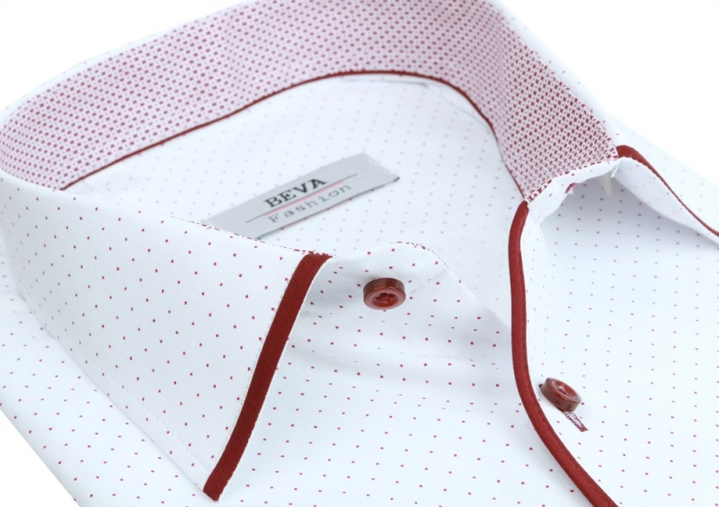 4637e16bd26d Biela pánska košeľa s bodkami BEVA KLASIK dlhý rukáv - All4Men.sk