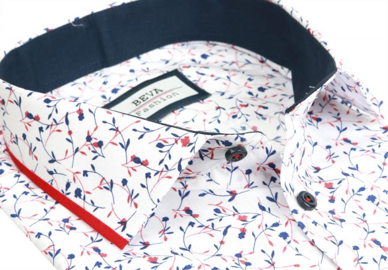 7ced001411da Biela pánska košeľa so vzorom BEVA SLIM dlhý rukáv - All4Men.sk