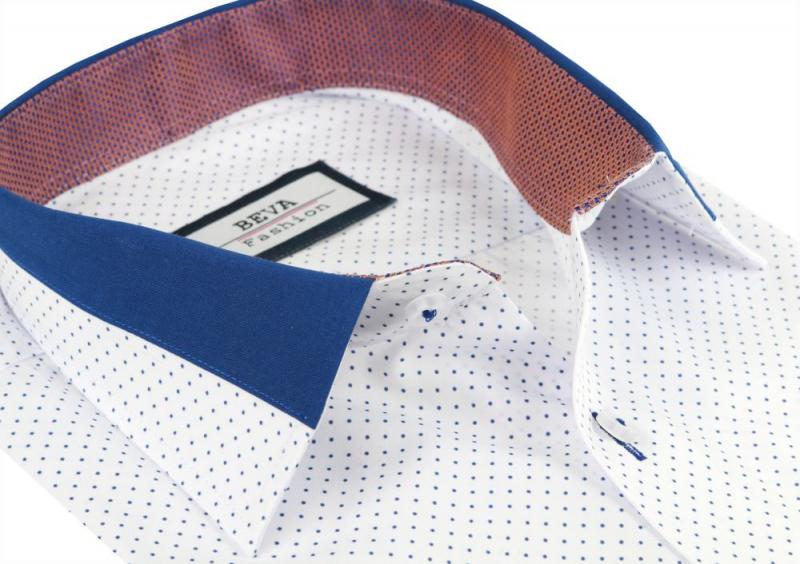 90b0c8499f5c Biela pánska košeľa s modrými bodkami BEVA SLIM - All4Men.sk