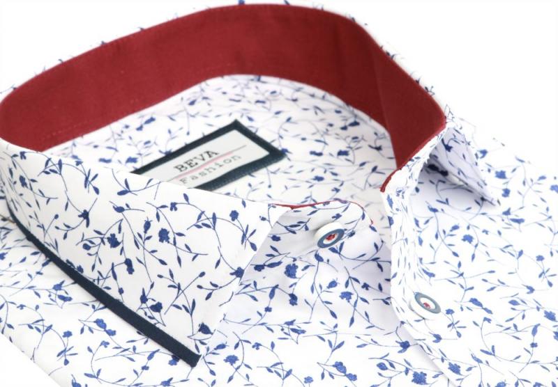 aec2c33a37c7 Biela košeľa s modrým motívom BEVA KLASIK dlhý rukáv - All4Men.sk