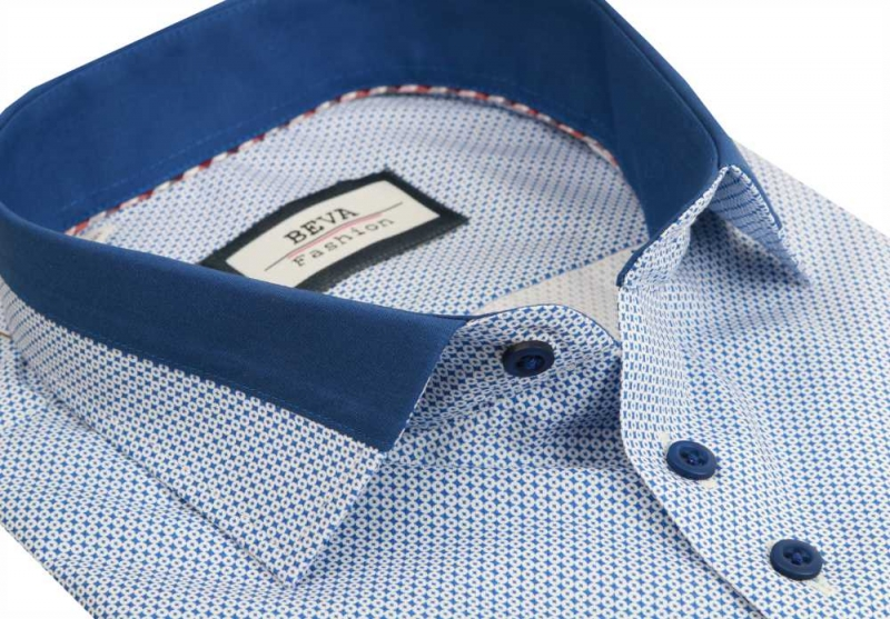 57172a653e2d Bielo- modrá pánska košeľa BEVA KLASIK dlhý rukáv - All4Men.sk