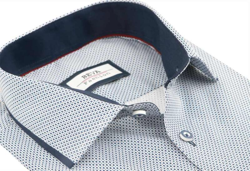 d93538607cf2 Bielo- modrá vzorovaná košeľa s dlhým rukávom BEVA KLASIK - All4Men.sk
