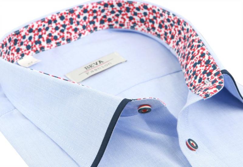 82e21a8d8408 Modrá pánska košeľa BEVA KLASIK s dlhým rukávom 3XL-5XL - All4Men.sk