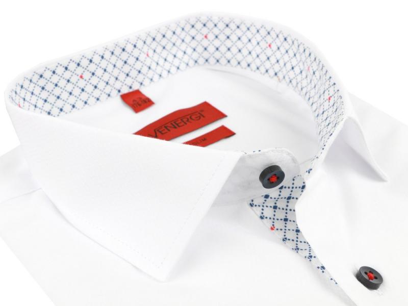 2448cd9f3302 Exkluzívna pánska biela košeľa VENERGI SLIM modré gombíky - All4Men.sk