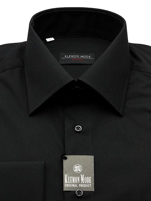 5743fb289 Čierna košeľa s talianskym (vysokým) golierom   Pánske košele ...