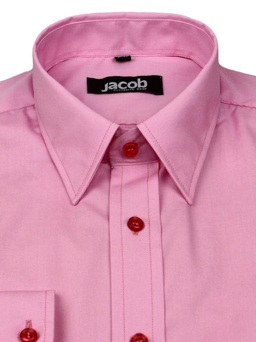 fc50478c6330 Ružová košeľa SLIM FIT vypasovaná JACOB 10252 - All4Men.sk