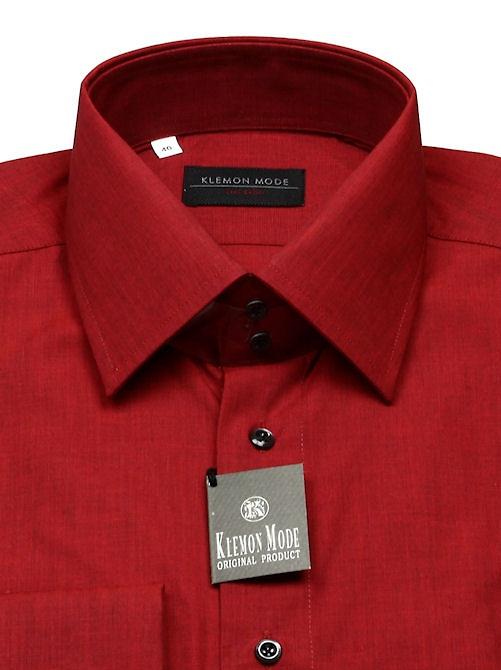 25aaa2c7081c Červená-vínová košeľa SLIM FIT s vysokým golierom KLEMON - All4Men.sk