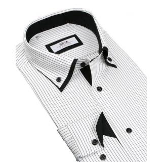 6d25eb31772a Biela košeľa s čiernymi prúžkami BEVA KLASIK 2K237 182-188 cm