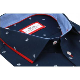 321670c5aea5 Pánska tmavomodrá košeľa s červeným lemom BEVA KLASIK kr.rukáv