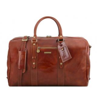 Kožená cestovná taška hnedá LISBONA large TUSCANY  6fe8a74b7f9
