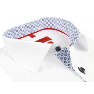 ae5346856473 Biela pánska košeľa s kontrastným podšitím VENERGI SLIM