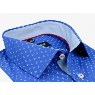 efbb29b53448 Modrá parížska slim košeľa so vzorom VENERGI