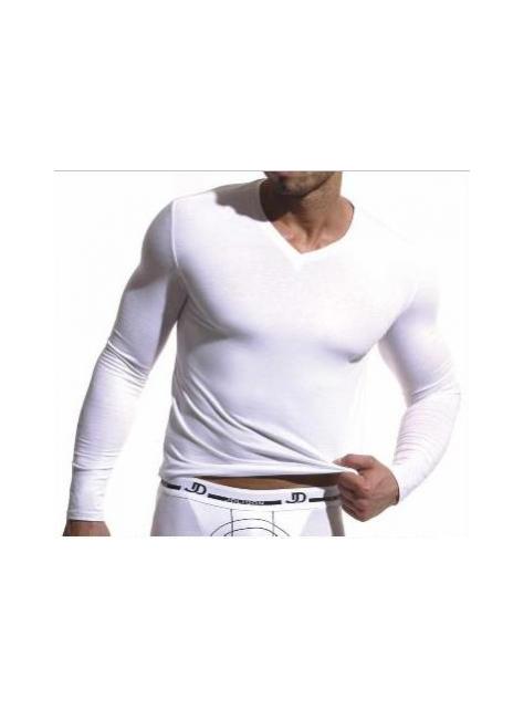 2adca460208a Pánske tričko s dlhým rukávom JOLIDON M18 biele - All4Men.sk