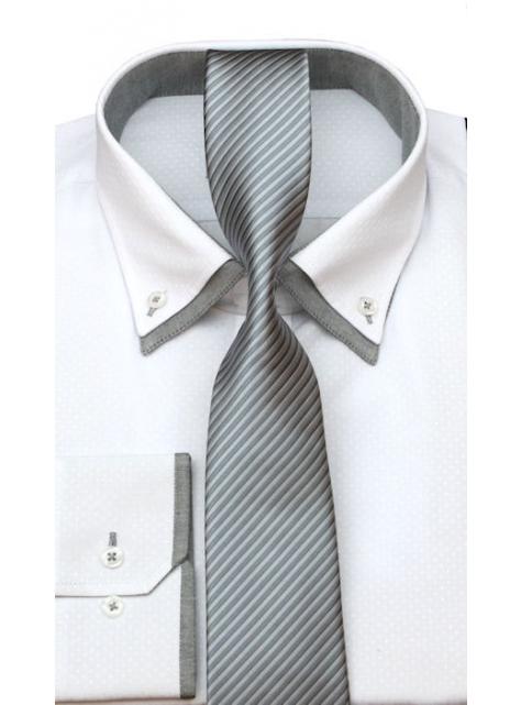 d7d34260196c Bielo-šedá košeľa VENERGI (klasický strih) - All4Men.sk
