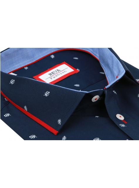 416a5f1fa229 Pánska tmavomodrá košeľa s červeným lemom BEVA KLASIK kr.rukáv - All4Men.sk
