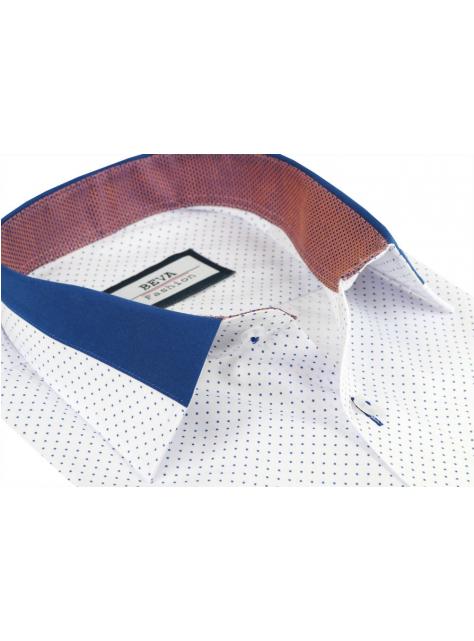 effe9fadb8c9 Biela pánska košeľa s modrými bodkami BEVA SLIM - All4Men.sk