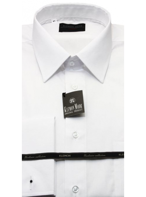 7b99640bae2a Biela košeľa na manžetové gombíky (slim) KLEMON SF20-008 - All4Men.sk