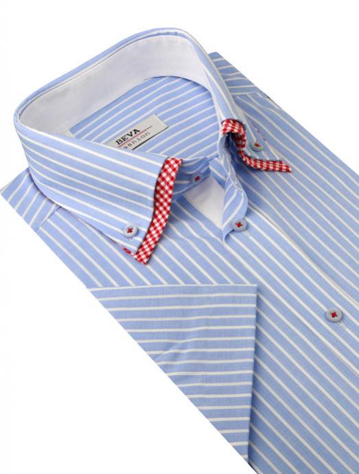 7cb1b9761275 TRENDOVÁ košeľa s kombinovaným golierom