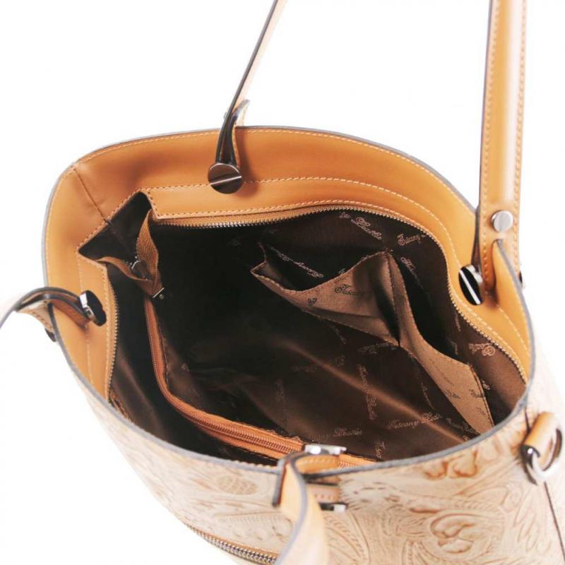 Dámska kožená kabelka ružová ATENA s potlačou TUSCANY. Akcia 4d6c957757a
