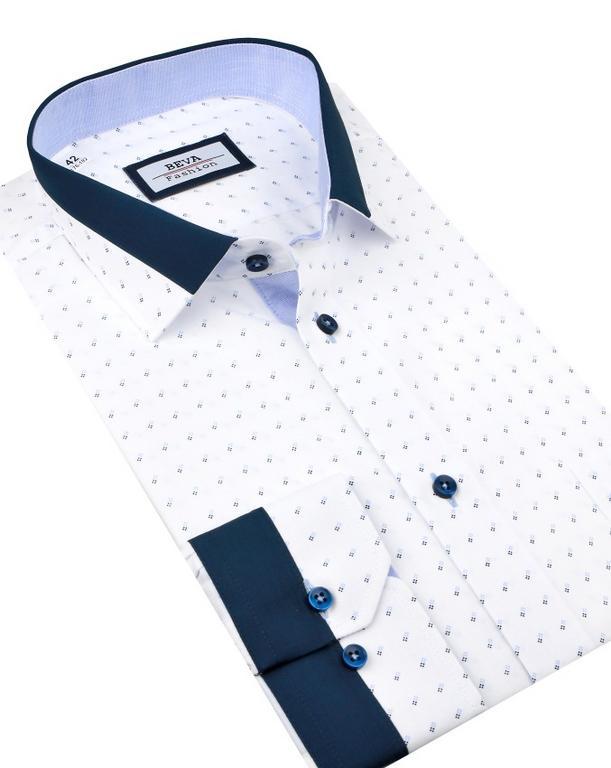 f823a4b3a23d Pánska business biela košeľa BEVA SLIM modrý vzor 2T124